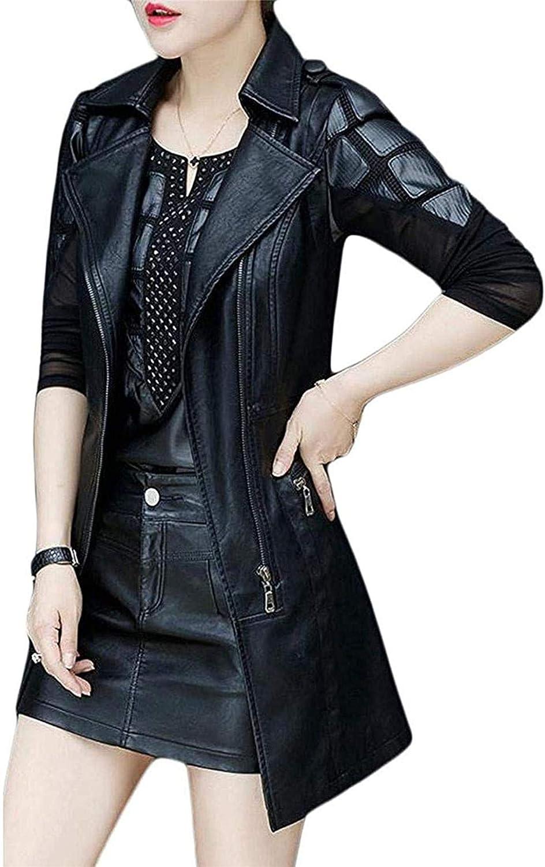 Hoolep Women Trench Coat Lapel Slim Fit PU Leather Moto Biker Vest Jacket