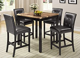 5 Piece Counter Height Dining Set Kitchen Table Furniture Set with 4 Chairs Dining Room Table and Bar Stools (Brown High Back)
