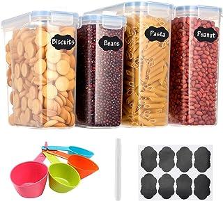 Aitsite Boîte de Rangement Cuisine Lot de 4 (2.5L+4L), Boîtes à Céréales sans BPA, Boîte de Conservation Alimentaire Hermé...