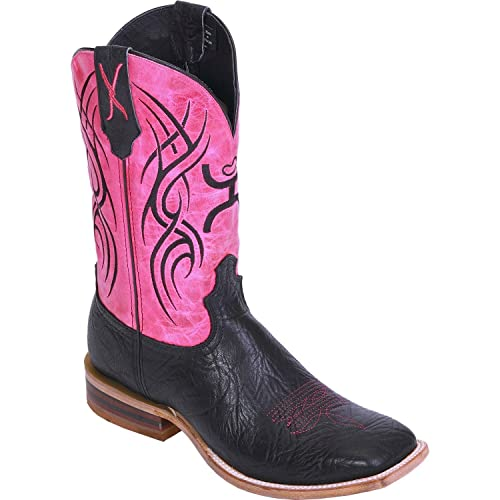 Twisted X Womens Black Leather 11in Pink Hooey Cowboy Boots 8.5B
