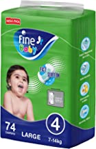 Fine Baby Diapers, Size 4, Large 7–14kg, Mega Pack of 74 diapers