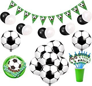JOYMEMO Soccer Party Decorations Sports Themed Party Supplies with Soccer Foil Balloons, Bunting Banner, Napkins and Straws for Boys' Birthday Bbay Shower