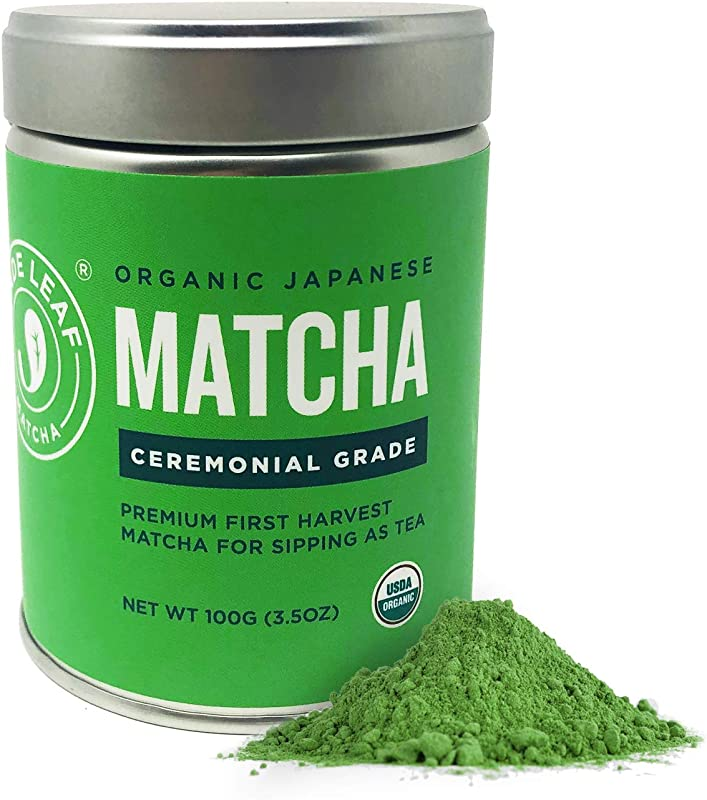 Jade Leaf Matcha Green Tea Powder USDA Organic Ceremonial Grade For Sipping As Tea Authentic Japanese Origin Antioxidants Energy 3 5 Ounce