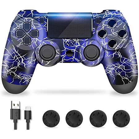 Zcity Controller PS4, PS4 Controller Wireless con Design a Forma di Fulmine, Doppia Vibrazione Gamepads PS4 Joystick Bluetooth per la Console Playstation 4