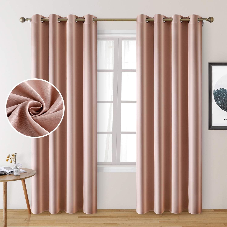 HOMEIDEAS 2 Panels Faux Silk Blackout Blush Curtains 直営店 Pink 大特価 Curtai