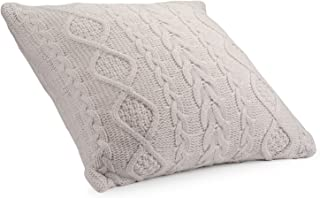 DOKOT Knitted Decorative Cable Braid and Diamond Knitting Square Warm Throw Pillow Cover/Cushion Cover 100% Cotton (Beige, (18x18 inches(45x45cm))
