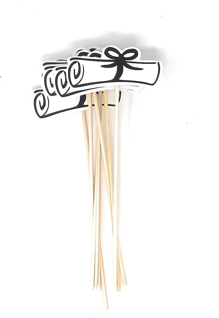 Double Sided Graduation Diploma Centerpiece Sticks Set of 8 Diploma Picks Floral Picks Metallic Foil (Black)