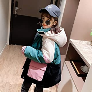 Stitching Contrast Girls Cotton Jacket High Quality (Color : Green)