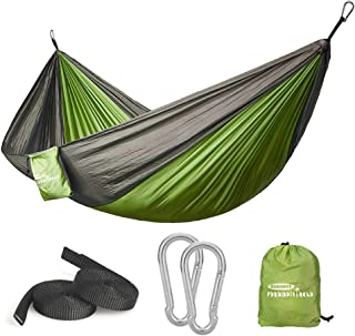 Forbidden Road Hammock Single Double Camping Portable Parachute Hammock for Outdoor Hiking Travel Backpacking - 210D Nylon Taffeta Hammock Swing - Support 400lbs - 660lbs Ropes Carabiners Included