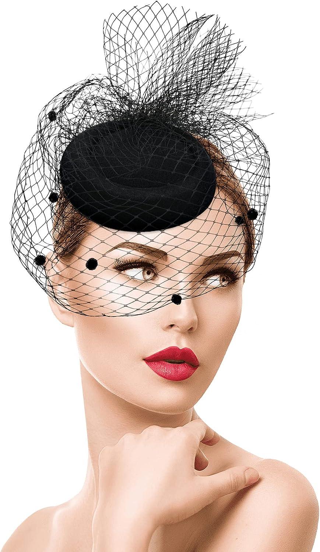 Women Cocktail Tea Party Pillbox Hat Vintage Veil Fascinator Hat