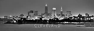Cleveland Skyline PHOTO PRINT UNFRAMED NIGHT Black & White BW City Downtown 11.75 inches x 36 inches Ohio Photographic Panorama Poster Picture Standard Size