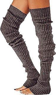 DODOYA, Calentadores de pierna de punto largos de cable para mujer, calcetines de invierno sin pies