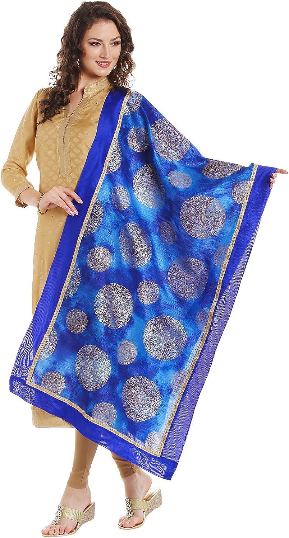 Dupatta Bazaar Women's Cotton Silk Dupatta with gold Block Print.