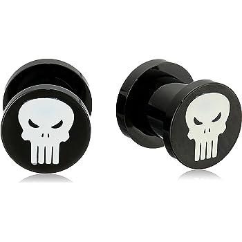 Marvel Comics Unisex Punisher Logo White Enamel Screw Fit Black Pvd Plated Steel Plugs
