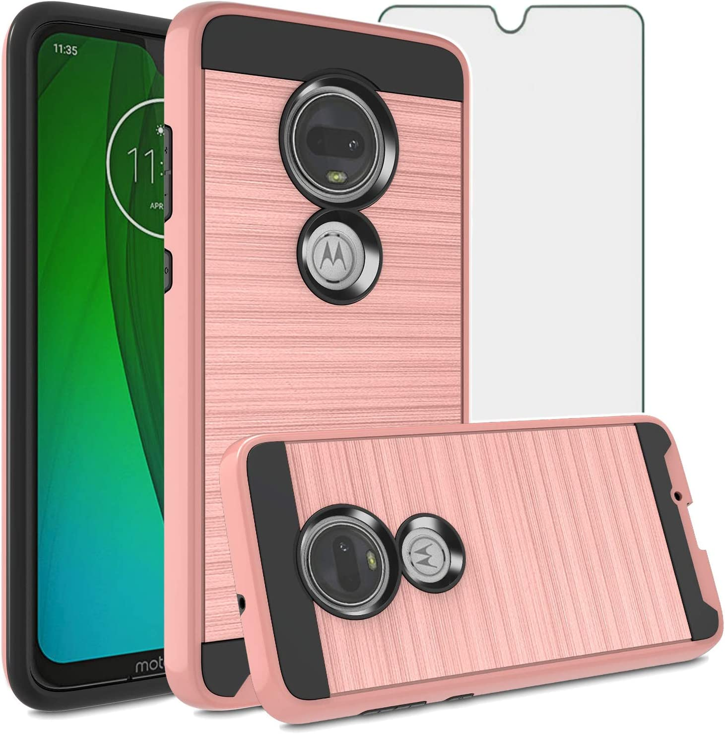 Asuwish Compatible with Moto G7/G7+/Revvlry Plus Case Tempered Glass Screen Protector Cover Slim Hard Cell Phone Cases for Motorola G7Plus Moto7 XT1962-1 G 7 7G Tmobile Revvlry+ Rose Gold
