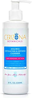 CERIZONA Exfoliating Face Wash Refining Facial Cleanser – Premium Daily Facewash for Women & Men - AHA/BHA Gentle Cleaner with Jojoba Beads for Acne Prone, Oily & Dry Skin -Deep Cleansing Lotion, 8 Oz