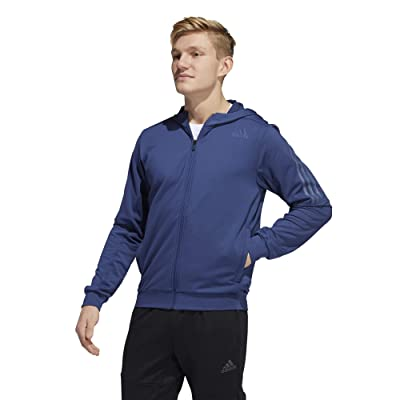 adidas Aero 3-Stripes Cold Weather Knit Hoodie (Indigo) Men