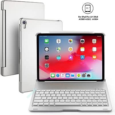 BECEMURU iPad Pro 11 Tastaturkoffer 7-Farben-Hintergrundbeleuchtung Drahtlose Bluetooth-Tastatur Muti-Angle Aluminiumlegierung Folio Protective Clamshell Case f r 2018 iPad Pro 11 Silbern Schätzpreis : 48,99 €