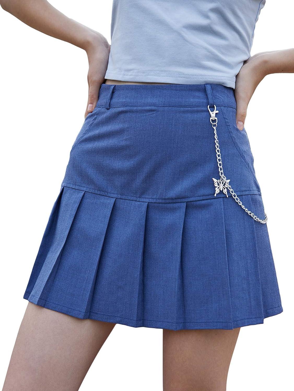 WDIRARA Women's Pleated Chain High Waist Casual Skater Uniform Mini Skirt