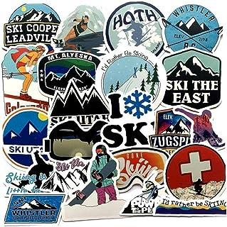 Ruluti 50 st pack vinterskidåkning snö berg graffiti klistermärken för bagage laptop skateboard kylskåp skiddekaler kliste...