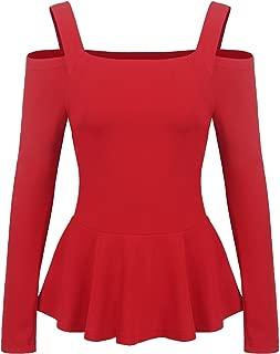 Women's Sexy Off The Shoulder Blouse Ruffle Side Casual Peplum Top Shirt