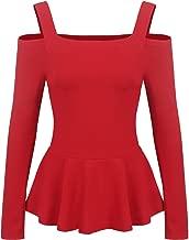Zeagoo Women's Sexy Off The Shoulder Blouse Ruffle Side Casual Peplum Top Shirt