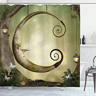 Ambesonne Cartoon Decor Collection, Forest Secret Swing Old Tree Curly Half Moon Shaped Lamps and Butterflies Lights Image, Polyester Fabric Bathroom Shower Curtain Set with Hooks, Khaki Olive