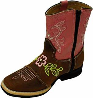Kids Genuine Leather Western Rodeo Cowboy Side Zipper Boots Tan Pink