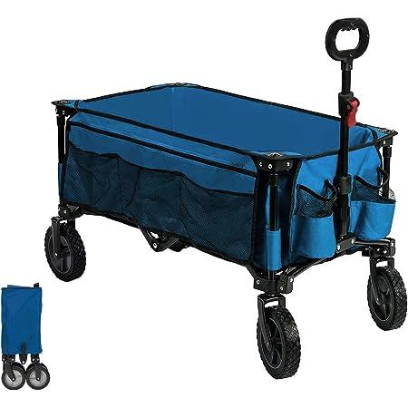 Timber Ridge Chariot de Plage Pliable Remorque Transport Jardin Shopping Pêche Extérieur Tout Terrain Pied Normal Bleu
