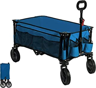 Timber Ridge Carrito de Playa Plegable Carros de Transporte para Acampar al Aire Libre Remolque de Jardín Cualquier Tipo de Terreno (Azul, Pies Normales)
