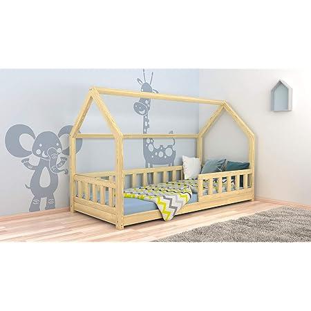 Lit d'enfant Maison Bois de Pin Lit Cabane avec Grille de Protection Capacité de Charge 120 kg (90x190 cm)