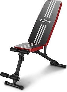 トレーニングベンチ PolySky フィットネス 腹筋 フォールディング フラットインクラインベンチ 折り畳み ダンベルベンチ ブラック