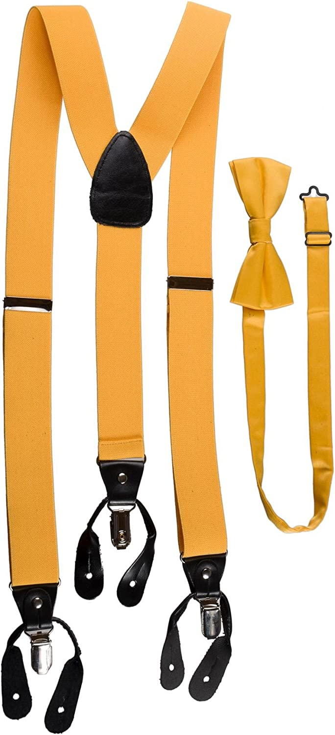 Mens Sunrise Yellow Suspender, Bow Tie, and Pocket Hanky Set Button or Clip-on
