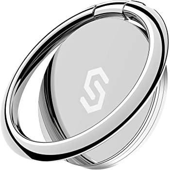 Syncwire Cell Phone Ring Holder Stand, 360 Degree Rotation Universal Finger Ring Kickstand with Polished Metal Phone Grip for Magnetic Car Mount Compatible with iPhone, Samsung, LG, Sony, HTC - Silver
