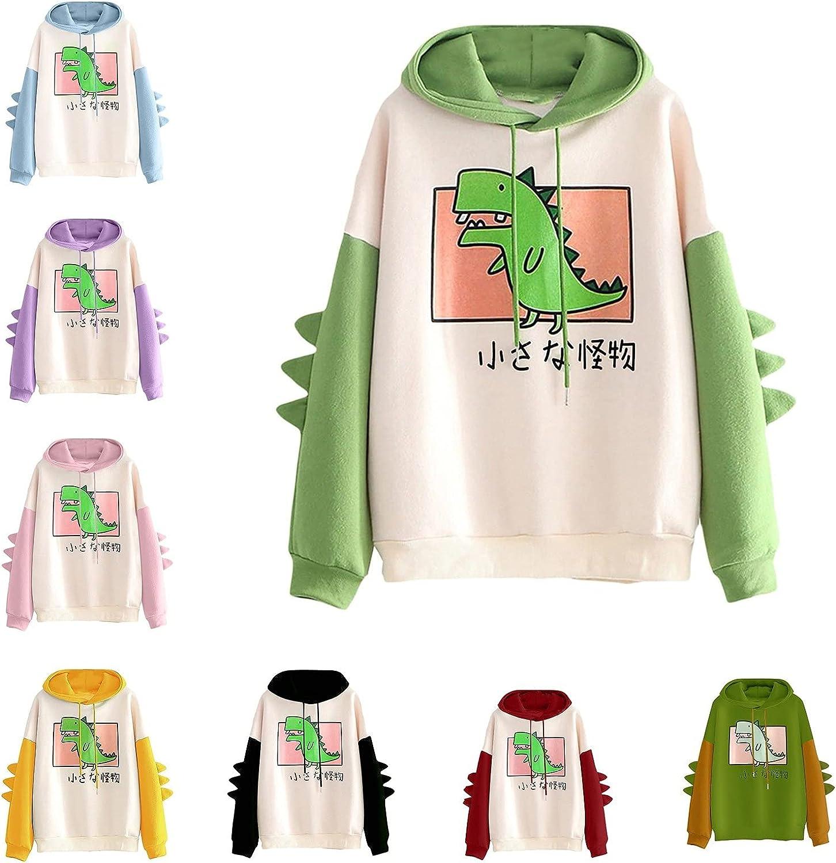 Hoodie for Women,Women's Long Sleeve Hoodie Dinosaur Print Drawstring Pullover Tops Sweatshirt for Girls