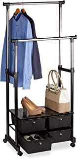 Relaxdays Portant à vêtements à roulettes hauteur réglable avec 4 tiroirs de rangement 2 tringles, noir