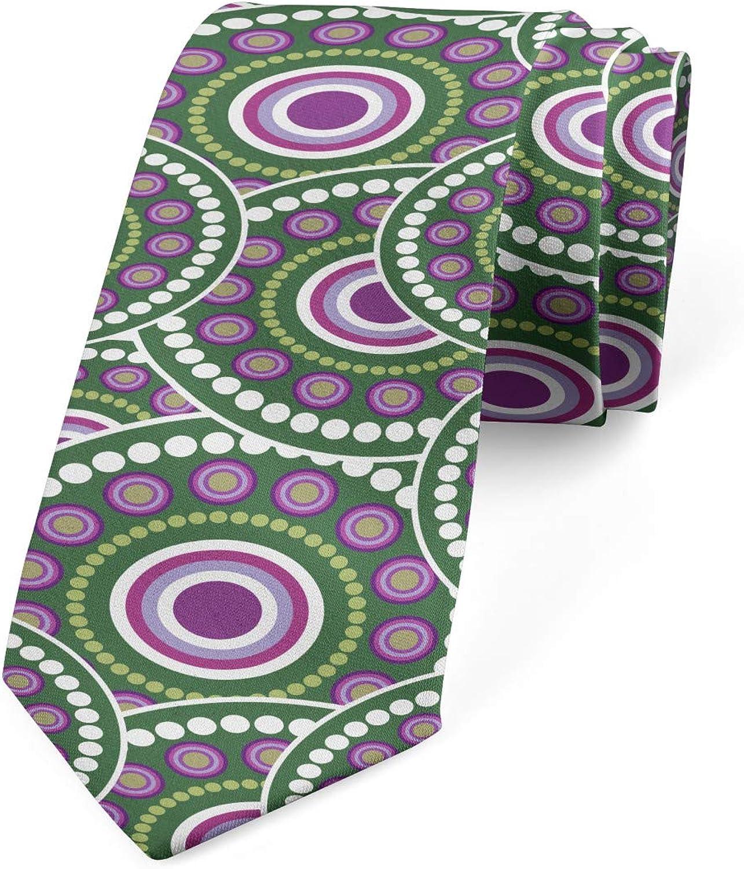 Lunarable Necktie, Dots Concentric Design, Dress Tie, 3.7