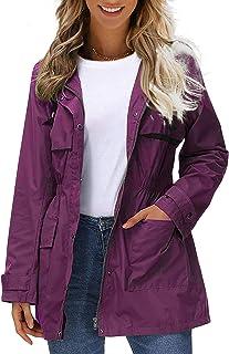 Womens Ladies Waterproof Jackets Hooded Raincoat Lightweight Anorak Autumn Spring Outerwear
