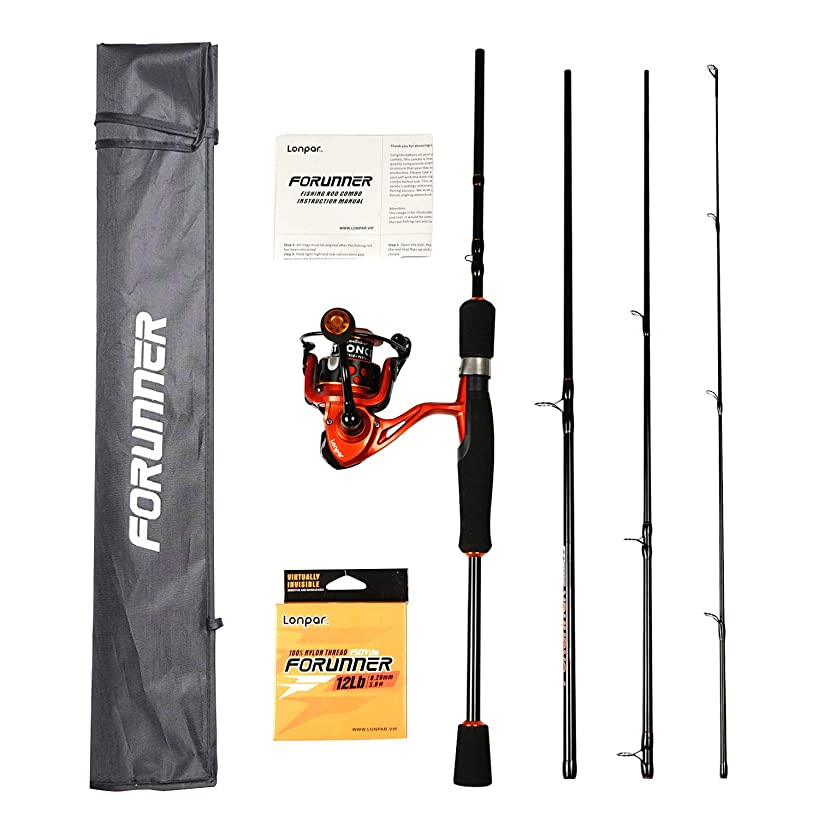 LONPAR Portable 4-Piece Carbon Fiber Fishing Rod and Reel Combos Travel Spinning Pole with Carrier Bag and Line for Kids and Adults Fishing