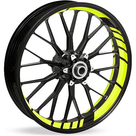Felgenrandaufkleber Speed Design 12 Teilig Komplett Set Finest Folia Passend Für 17 Zoll 16 18 19 Felgen Motorrad Auto Fahrrad Mr002 Neon Gelb Auto