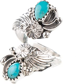 Tskies Sterling Silver Natural Turquoise Stone Ring for Women Native American Made Adjustable Size