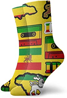 Elsaone, Rasta Lion Jamaica Reggae Flag Map Calcetines de vestir con cinta magnética Calcetines divertidos Calcetines locos Calcetines casuales para niñas Niños