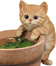 Ebros Lifelike Pot Pal Hanging Orange Tabby Cat Statue 8
