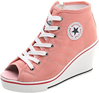 Women's Canvas High-Heeled Shoes Lace Up Fashion Sneakers Platform Wedges Pump Shoes