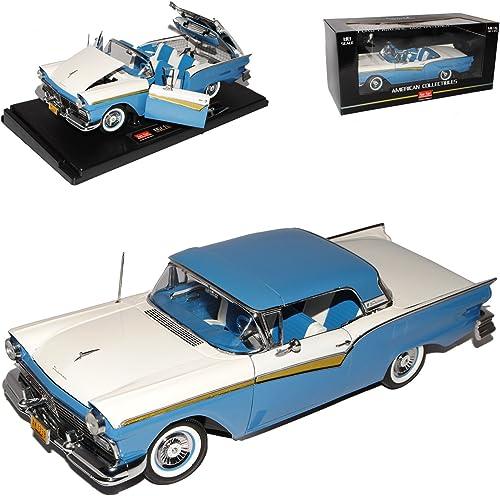 Sun Star Ford Fairlane 500 Skyliner Cabrio Blau Weißs 1957 1 18 Modell Auto mit individiuellem Wunschkennzeichen