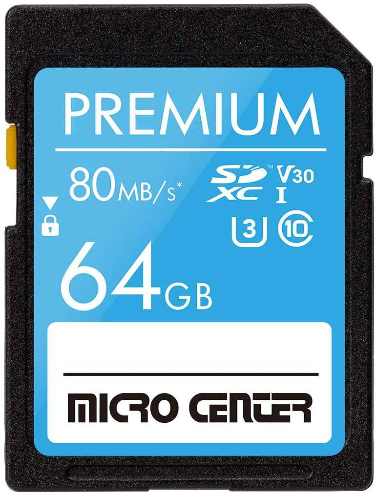Premium 64GB SDXC Card by Micro Center, Class 10 SD Flash Memory Card UHS-I C10 U3 V30 4K UHD Video R/W Speed up to 80/35 MB/s for Cameras Computers Trail Cams (64GB)