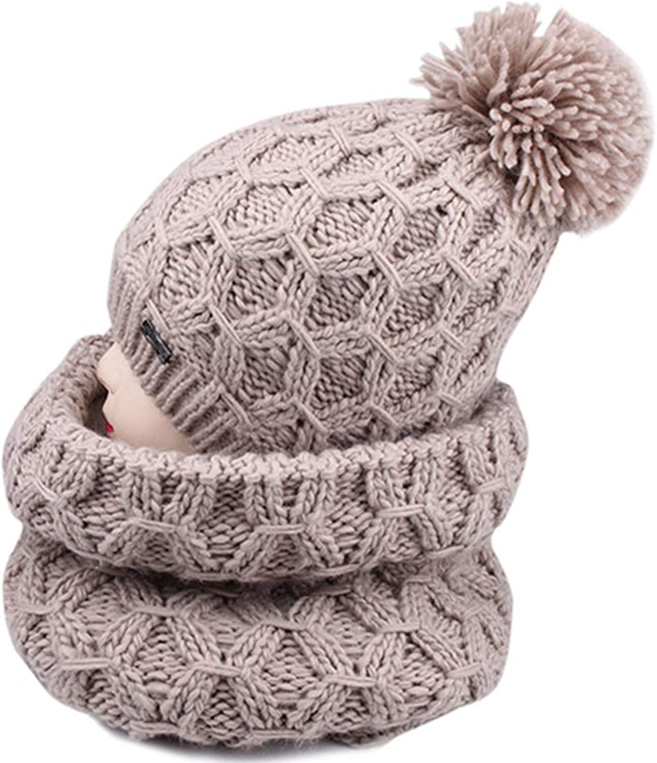 Womens Winter Knitting Beanies Hat,Fashion Knitted Hat and Scarf Set Pom Pom Scarves Cap