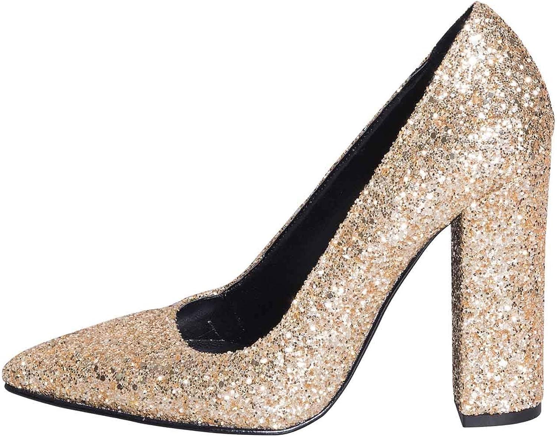Decollete Donna fatto in  in Glitter con Tacco Alto 10 cm Coloreee oro - Platino