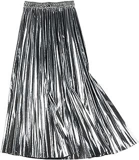 Solarphoenix Falda Larga Plisada para Mujer, otoño, Invierno, Cintura Alta, una línea de Falda Maxi de Oficina