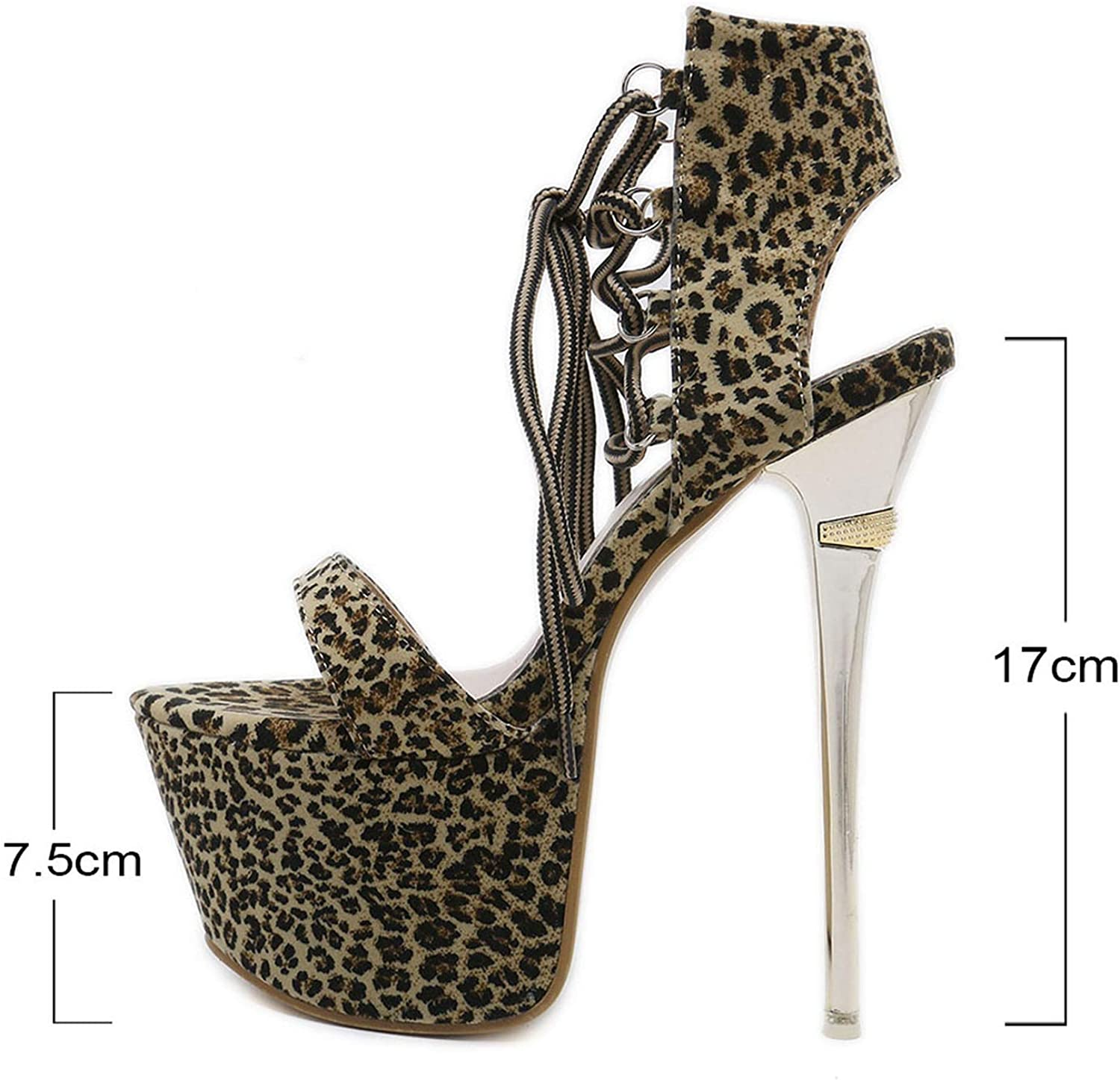 Betterluse Flats Sandals Thin High Heels shoes Leopard Printed Open Toe Party shoes Cross Tied Wedding shoes